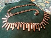 Heavy Vintage 9ct Solid Gold Cleopatra Necklace Collar Chain Wt 22g/ 16andrdquo New