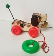 Vintage 1965 Fisher-price Little Snoopy Puppy Dog Pull Toy Makes Noise