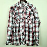 Bke Menand039s Size Xl Pearl Snap Shirt Embroidered Graphic Roll-tab Sleeves Plaid