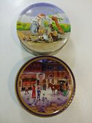 Danish Tin Lot Of 2 Hans Christian Anderson Jacobson's Bakery Butter Cookie Vtg