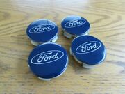 Set Of 4 Blue Ford Oem Center Caps 54mm. Used But In Great Condition. Free Ship