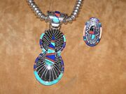 Abraham Begay --- Necklace Pendant And Ring Set -- Sterling Silver And Inlays