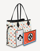 Louis Vuitton Game On Neverfull Mm White Red Heart Tote Top Handle Shoulder Bag