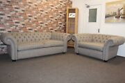 F.v. Langham Large 3 Seater Sofa And Snuggle Chair In A Mink Coloured Fabric