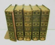 Antique Lot 5 Books 1902 Messages Papers Presidents Marbled Cover Leather Decor