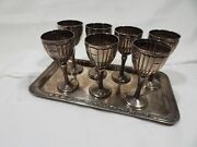 Sterling Silver Cordial Tray And Cups 8 Pc Set Mexico Knight And Shield Hallmark Fp