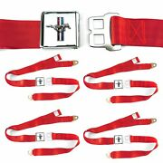 Ford Mustang Gt Red Lap Seat Belt Buckle Fits Coupe Fastback Set Of Four