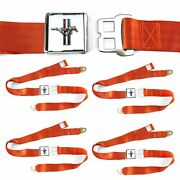 Ford Mustang Gt Orange Lap Seat Belt Buckle Fits Bug Bus Set Of Four Ghia