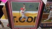 Mike Trout Los Angeles Angels Signed 6x20 Framed Photo Coa Mlb Authenticated