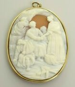Antique Cameo Pendant By Lamont - Woman Helping The Sick And Injured 14k Gold