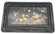 Set Of 4 Vintage Chinese Lacquered Wood Tray Dragon Hand Painted Decoration