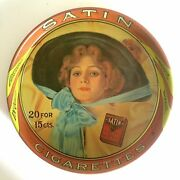 Vintage Mid Century Satin Cigarettes Collector Round Lithograph Tin Serving Tray