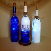 Holiday Bottle With Light/ Decorations / Hanukkah / Winter / Blue