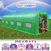 Heavy Duty 24.6and039l Large Walk-in Greenhouse Outdoor Steel Frame Hot Green House