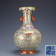 12.2 Old Chinese Porcelain Qing Dynasty Qianlong Mark Lotus Double Ear Vase