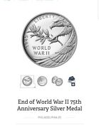 End Of World War Ii 75th Anniversary Silver Medal In Hand-ready To Ship
