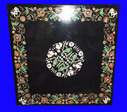 Pietra Dura Black Marble Top Table Rare Inlay Antique Mosaic Collectible Az5829