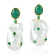 66.93ct Natural Emerald Baroque Pearl Dangle Earrings 18k Yellow Gold Jewelry