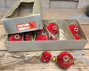 Lot Of 6 Honeycomb Paper Christmas Ornament Double Balls, Red, Gold, Tassels