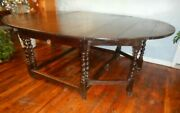 Very Large 60 X 88 Early Barley Twist Dining Table Antique Oak