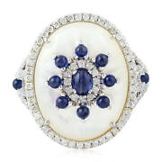 Blue Sapphire Pave Diamond And Pearl Cocktail Ring 18k White Gold Handmade Jewelry