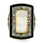 Studded Diamond Mother Of Pearl Cocktail Ring 925 Sterling Silver Women Jewelry