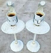 Set Of 2 Antique Cast Iron Side Tables With Tulips And Removable Vases