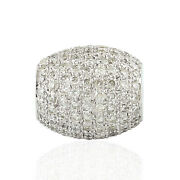 Memorial Day Sale 1.64ct Pave Diamond Bead Spacer Finding 18k White Gold Jewelry