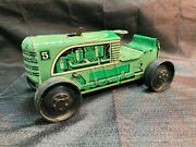 Vintage Marx 5 1950's Tin Litho Wind Up Green Farm Tractor