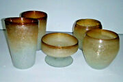 Vtg Murano Art Glass Set Tumblers Vases Compote Frosted Amber Bubbles 5 Pieces
