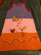 Oilily Embroidered Sleeveless Jumper Dress Approx. 7-8y Purple Pink Orange