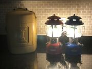 2x Electric Conversion Coleman Lantern 220k With 1 Clamshell Travel Case