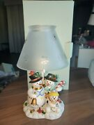 Partylite Snowbell Snowman Family Tea Light Lamp Candle Holder P7866 W/box