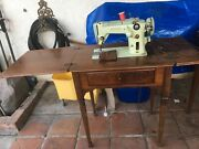 Vintage Singer 319w Sewing Machine With Cabinet Used