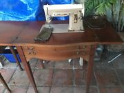 Vintage Singer Sewing Machine 404 With Cabinet Used