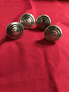 Vintage 4 Small Chrome W/black Detail Round Drawer Knobs Mid-century 1in.heavy