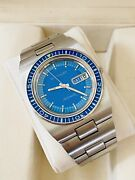 Vintage 1970s Stainless Wittnauer Diver Watch Blue Dial And Bezel 17j Automatic