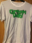 Green Day - 2018 Striped Shirt. L. White With Thin Black Stripes.