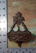 Old 1890s Antique Cast Iron Wall Match Holder Safe For Antique Oil Lamps