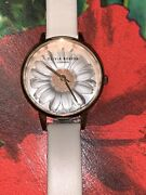 New In Box Olivia Burton Women Ladies 3d Daisy Floral Watch Grey Leather Strap