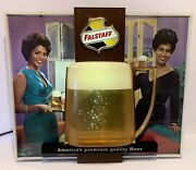 Vintage Falstaff Beer Beautiful Ladies Bubbler Motion Lighted Sign Rare Working