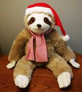 Vintage The Petting Zoo 1994 Stuffed Christmas Sloth W/ Santa Hat And Scarf 34