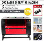 Omtech 60w 28x20 Co2 Laser Engraver Cutter With Cylinder Rotary Axis Autofocus