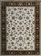 6'x 9' Rug   Hand Knotted Ivory Black Wool And Silk Area Rug