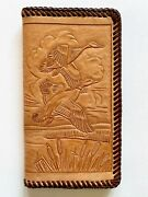 1970's Rare Hand Tooled Leather Woodland Geese Mens Long Wallet Checkbook Cover