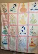 Sunbonnet Sue Twin Vintage Estate Quilt Handmade 1930and039s 1940and039s Shabby Chic Style