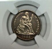 1885 Seated Liberty Silver Dime Ngc Pf 63 Rare 10 Cent Coin Proof 🇺🇸 Gem Mint