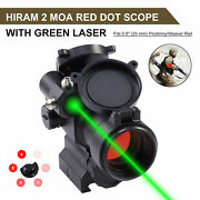 Hiram 2 Moa Red Dot Sight Rifle Scope With Integrated Green Laser Sight And Riser