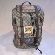 Courtier Soft Backpack Gg Supreme Embroidered Patches Beige/ebony/multi