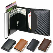 Rfid Blocking Auto Credit Card Holder Leather Small Metal Wallet Money Clip Uk